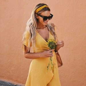 Lulu's MY PHILOSOPHY GOLDEN YELLOW WRAP DRESS - S